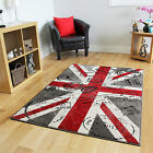 Small Large Red Grey Retro Union Jack Rugs Easy Clean Living Room Modern Rugs