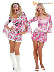 Adult 60s 1960's  Hippy Flower Power Fancy Dress Costume Womens Ladies Outfit
