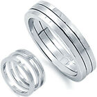 925 Sterling Silver 2 Piece Matt & Shiny Wedding Puzzle Band Ring Set Size 6-10
