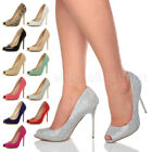 WOMENS LADIES HIGH HEEL PEEP TOE SHOES COURT SMART PARTY WORK  SANDALS PUMPS