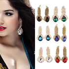 Beauty Women Earings Luxury Elegant Rhinestone Big Drop Earrings Vintage Earings