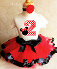 Minnie Mouse Red Black Polka dots 2nd Birthday Shirt Tutu Outfit Set Party girl