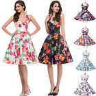 Vintage 1950s Style Floral Rose Pattern Swing Circle Prom Party Dress Plus Size