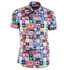 "MOSCHINO Kurzarm Hemd ""Pop-Art"" Baumwolle Printed Shirt Cotton 03697"