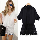 New Women's T-Shirt Loose Lace Casual Half Sleeve Tops Blouse PLUS SIZE S~2XL