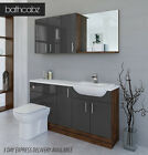 GREY / OLIVEWOOD BATHROOM FITTED FURNITURE 1600MM WITH WALL