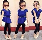 Baby Girl Short Sleeve T-shirt +Pants Set Clothes 2-8T Cotton Gift for Children