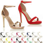 WOMENS LADIES HIGH HEEL PEEP TOE BARELY THERE ANKLE STRAP BUCKLE SANDALS SIZE