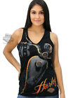 Harley-Davidson Ladies Black V-Neck Tank Top w/ Rhinestones & Orange Foil Ink
