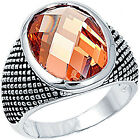 925 Sterling Silver Checkerboard Oval Champagne CZ Wide Love Band Ring Size 6-11