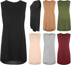 New Womens Sleeveless Round Neck Side Slit Long T-Shirt Ladies Baggy Top 8-14