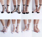 Womeng Girl's Fashion Dot Stripe Street Snap Short Socks Transparent Stockings