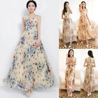 Women Vintage Floral Boho Long Maxi Chiffon Cocktail Prom Dress Plus Size XS~2XL