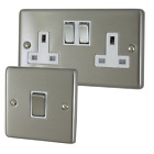 Brushed Steel Sockets and Switches with White Inserts