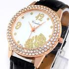 New Fashion Crystal Flowers Dial Leather Strap Quartz Dress Women Lady Watches