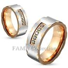 FAMA 6mm Stainless Steel Two Toned 5 CZ Center Rose Gold IP Ring Band Size 5-8