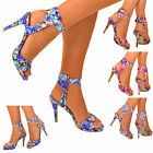 NEW Ladies Ankle Strap Sandals Floral Multicolour High Heels Summer Shoes Size