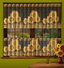 CAFE NET CURTAINS -TWO SIZES - SOLD BY METERS SUNFLOWER DESIGN ON BLACK WARP