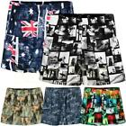 Mens Big Sizes Knee Length Hawaiian Palm Tree Flag Print Summer Swim Shorts