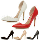 WOMENS LADIES HIGH HEEL POINTED OPEN CUT OUT D'ORSAY PARTY WORK COURT SHOES SIZE