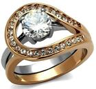 Size P R T 8 910 2PC Two Tone Engagement WEDDING Band Ring Rose SET LTK2479E