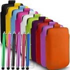 DURABLE COLOUR PULL TAB PHONE POUCH & LONG STYLUS PEN FOR SONY XPERIA MOBILES