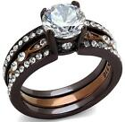 Size P R T 8 9 10 Two Tone Chocolate Engagement WEDDING Band Ring SET LTK2560E