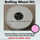 Stitched Cotton Wheel & Pink buffing bar Kit - to polish chrome - CHOICE KIT