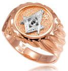 14k Solid Rose Gold Masonic Men's Ring