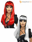 Long Layered Wig Witch Dark Alice Ladies Halloween Fancy Dress Costume Accessory