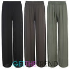 Womens New Plain Loose Fit Palazzos Ladies Flared Baggy Yoga Lightweight Trouser