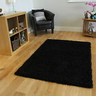 NEW SMALL X LARGE SIZE THICK SOFT BLACK SHAGGY RUGS NON SHED 5cm PILE MODERN RUG