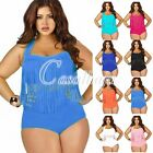 Women Plus Size Retro High Waist Tassel Padded Bra Bikini Set Swimsuit Beach