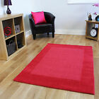 New Plain Modern Red Bordered Wool Carpet Rugs Warm Dense Extra Soft Lounge Mats