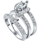 Sterling Silver Round Marquise Clear CZ Engagement Promise 3 in 1 Ring Size 3-11
