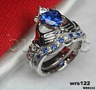 Irish Claddagh Heart Blue Sapphire White 925 Silver Bridal Engagement Ring Set