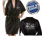 NEW Personalised BLACK Bridal Satin Robe / Wrap / Gown Wedding Bride or Gift Bag