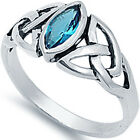 Sterling Silver Blue Topaz CZ Celtic Scottish Love Knot Sideways Ring Size 3-11