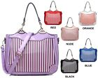 Ladies Striped Designer Patent Handbag Tote Bag Shoulder Bag Clutch Bag M2912