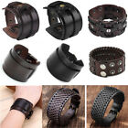 Punk Unisex Mens Black Wide Genuine Leather Belt Bracelet Cuff Wristband Bangle