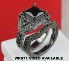 BLACK PRINCESS ON BLACK RHODIUM 925 STERLING SILVER ENGAGEMENT WEDDING RING SET