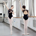 Women Gym Ballet Dance Leotard Sleeveless Stand Collar Cotton Black/Purplish Red