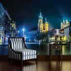PHOTO WALLPAPER MURAL HOME DECOR OLD TOWN CITY SQUARE NIGHT VIEW THEME 1314P