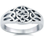 925 Sterling Silver Trinity Celtic Knot Design Elegant 10 mm Band Ring Size 3-11