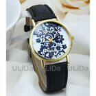 New Fashion Geneva Round Golden Dial Lace Leather Band Women Analog Quartz Wrist