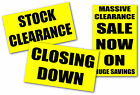 Closing down stock clearance yellow signs & posters  for shops and retail choose