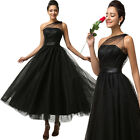 Custom Long BLACK Tulle Bridal Ball Party Prom Gown Formal Evening Dress SZ 6-20
