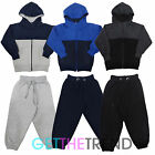 Kids Plain Fleece Lined Tracksuit Toddler Panel Tracksuit Top and Bottoms Set