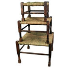 SQUARE RUSH TOP STOOL FOOTSTOOL VINTAGE RETRO HAND CRAFTED ACACIA WOOD NEW