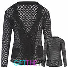 Womens Lace Crochet Single Button Blazer Ladies Long Sleeves Smart Office Jacket